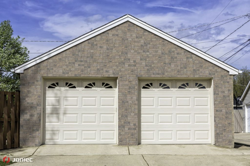 Traditional two car brick garage