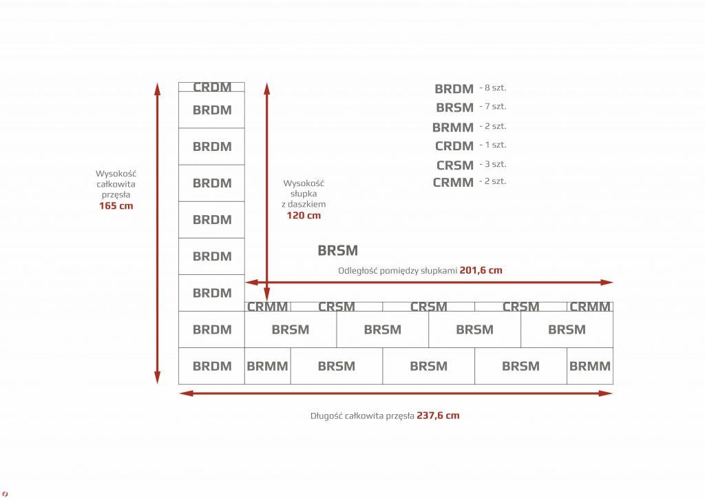 ROMA CLASSIC - szeroki słupek + wąska podmurówka naprzemiennie
