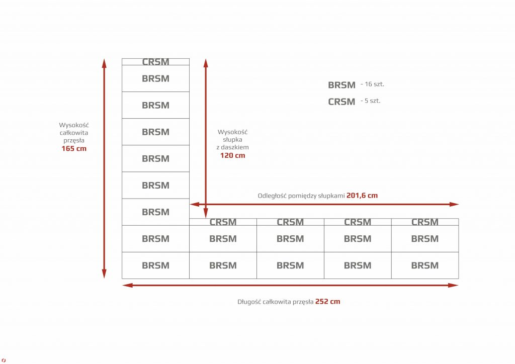 ROMA CLASSIC - wąski słupek + wąska podmurówka bloczek nad bloczkiem